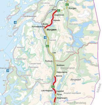 Kontraktsområdet strekker seg fra Nord-Trøndelag grense til Osen, en vegstrekning på ca. 13,2 mil.