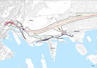 Sjursøytunnelen er en ny tunnel for inngående Østfoldbane, tegnet med blå stiplete linje på dette kartet.