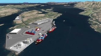 I 2016 ferdigstilles en ny kysthavn med ro-ro-fasiliteter på Kråkøya nord for Rørvik. (Ill: Nord-Trøndelag Havn Rørvik IKS)