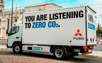 Den hel-elektriske Fuso E-Cell går nå i fullskalatester i Portugal og er etter alt å dømme produksjonsklar om kort tid. Bilen har en rekkevidde på rundt 100 km.