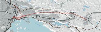Mesteparten av den 22 km lange strekningen mellom Oslo og Ski skal gå i tunnel.