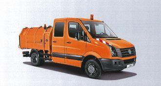 VW Crafter i 5-tonns utførelse er utgangspunktet for denne hendige renovasjonsbilen med nyttelast på 1,1 tonn og lastevolum på ca. 4 m3. Ved hjelp av en bevegelig innvendig vegg kan avfallet komprimeres eller skyves ut bak på søppelplassen. Påbygget kan også leveres med lasteinnretning for avfallsbeholdere på 80 til 240 liter.