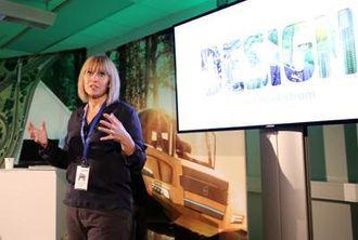 Designdirektør Stina Nilimaa Wickström fortalte om Volvos konseptmaskin.