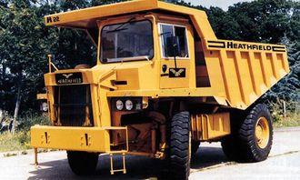 Uten å få det bekreftet har Brian Thompson og Gordon Brown trolig kjøpt tipptruckfabrikken Heathfield som har produsert maskiner opp mot 50 tonn. Bildet er hentet fra en gammel brosjyre som viser en av de minste modellene på ca. 20 tonn.