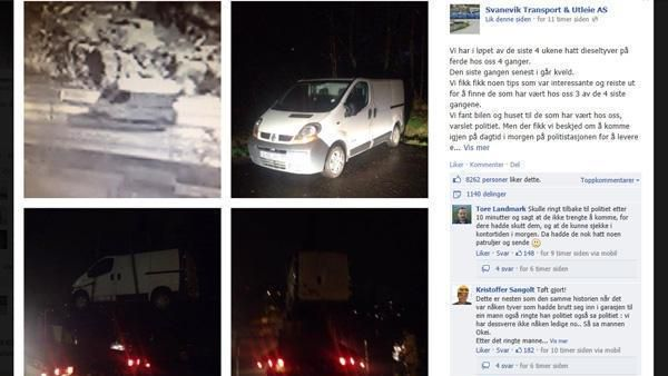 Skjermdump fra Svanevik Transport & Utleie AS' Facebook-side.