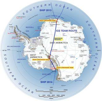 Ekspedisjonen skal følge denne ruten tvers over Antarktis.