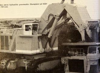 Verdens største hydrauliske gravemaskin. Eksemplaret på bildet veier 540 tonn.