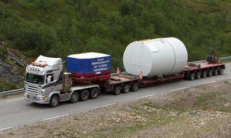 Slik så trekkbilen ut i slutten av juli på oppdrag i Båtsfjord i Finnmark.