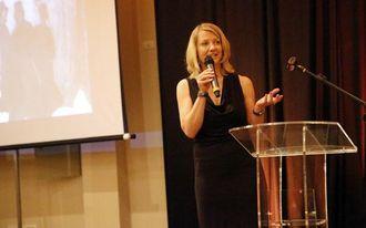 FORMANNEN: NFF-formann Heidi Berg tok ordet på scenen.