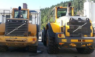 Fra Katharina Fjeld: #gammalt og #nytt #old and the #new #l220g #l180e #volvo220g #volvo180e #volvo #wheelloaders