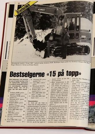 Kobelcos 903B var mestselgende maskin i Norge i 1985. Her