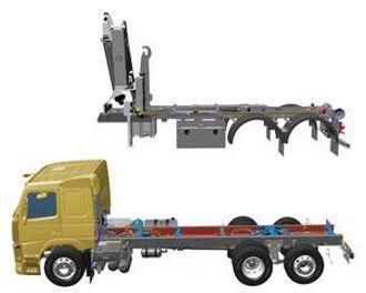 Ved at chassis og påbygg kan produseres parallelt og uavhengig av hverandre, vil leveringstiden av det ferdig påbygde kjøretøyet kunne reduseres med inntil to uker. (Ill.: Volvo Trucks)