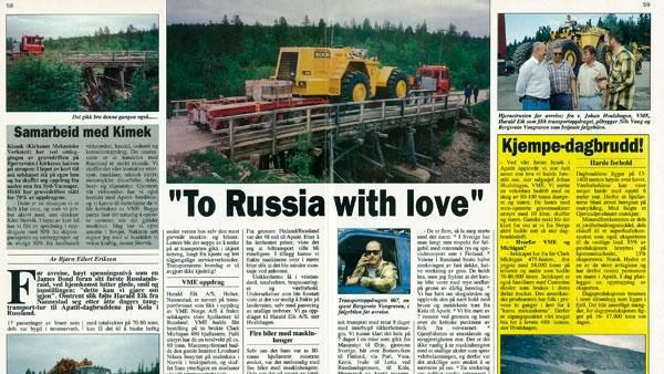 """To Russia with love"" og to hjullastere av typen Clark Michigan 480 hjullastere med to års service- og reservedeler."