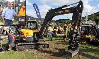 Morten Hvattum (innfelt) er produktsjef for kompakte gravemaskiner og multilastere hos Volvo Maskin. En av de nyeste maskinene han har i kompaktsortimentet, er denne D-versjonen av ECR88.