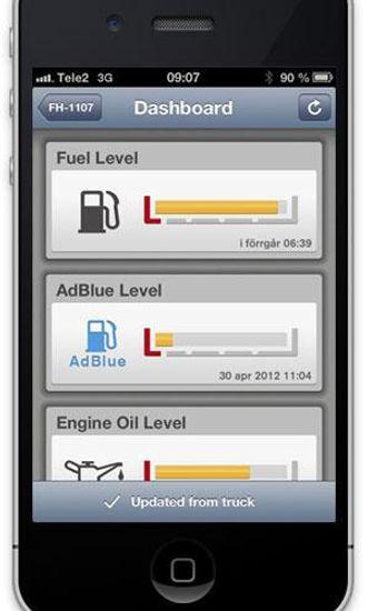 Mobilapp'en gjør det mulig å kontrollere væskenivåer og aktivere parkeringsvarmeren fra veikroa eller sofaen hjemme.