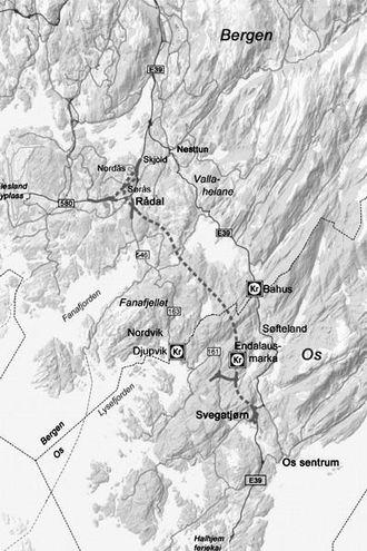 Ny trase med høyere tillatt hastighet skal halvere reisetiden på E39 mellom Os og Bergen.