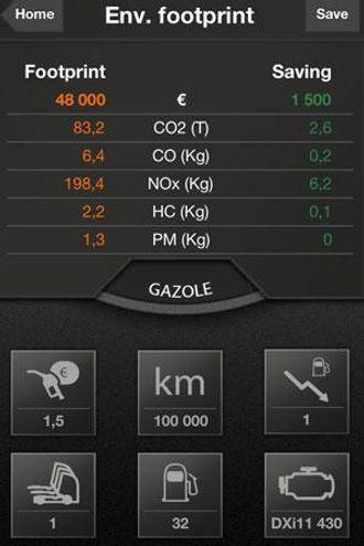 Eksempel på skjermbilde for EcoCalculator fra Renault Trucks.