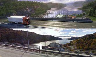 Øverst er skjermbildet fra spillet, nederst er Google Street Views bilde av samme strekning.
