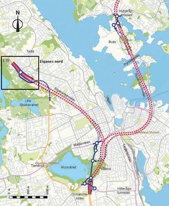 Oversiktstegning for Ryfylkeforbindelsen (Ryfast) og E39 Eiganestunnelen. Dagens E39 er vist med gul strek. Eiganes nord er markert med ramme.