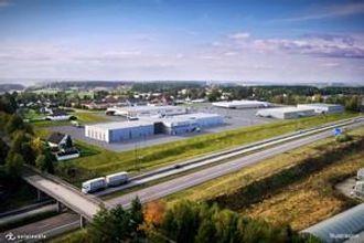 Det nye hovedkvarteret til DAF/Autonor ligger tett ved E6 i Østfold. På denne modellen vises det aktuelle bygget nederst til venstre mot motorveien.