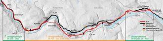 Den nye E6-traseen mellom Ringebu og Otta er markert i rødt, den gamle i svart.