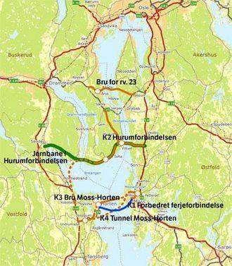 Det er flere ulike alternativer for hvordan trafikken skal flyte over Oslofjorden i fremtiden.