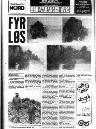 Faksimile av Sør-Varanger Avis 10. februar 1983. Saken omhandler sprengningen på 435 tonn sprengstoff hos A/S Sydvaranger ved Bjørnevatn dagen før.
