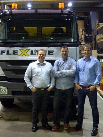 F.v: Daglig leder Kato Stien (Flexleie), markedsansvarlig Ole Heie (Flexleie) og adm. direktør Peder Andersen (AMV/Tunnel Support).