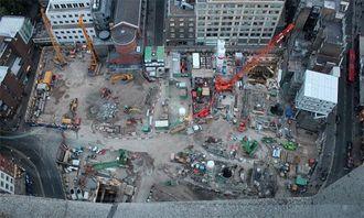 Oversiktsbilde over anleggsområdet ved Tottenham Court Road.
