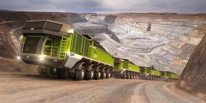 En fører skal kunne styre opp til fire sammenkoblede dumpere med en kapasitet på til sammen 1.379 tonn.