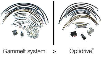 Forskjellen i antall deler på gammelt hydraulikk-system og Optidrive fra Avant Tecno Oy.