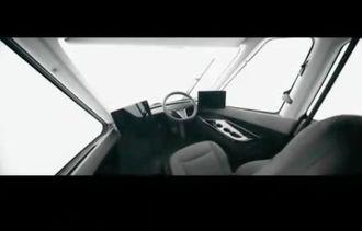 Førerplassen i en Tesla Semi.