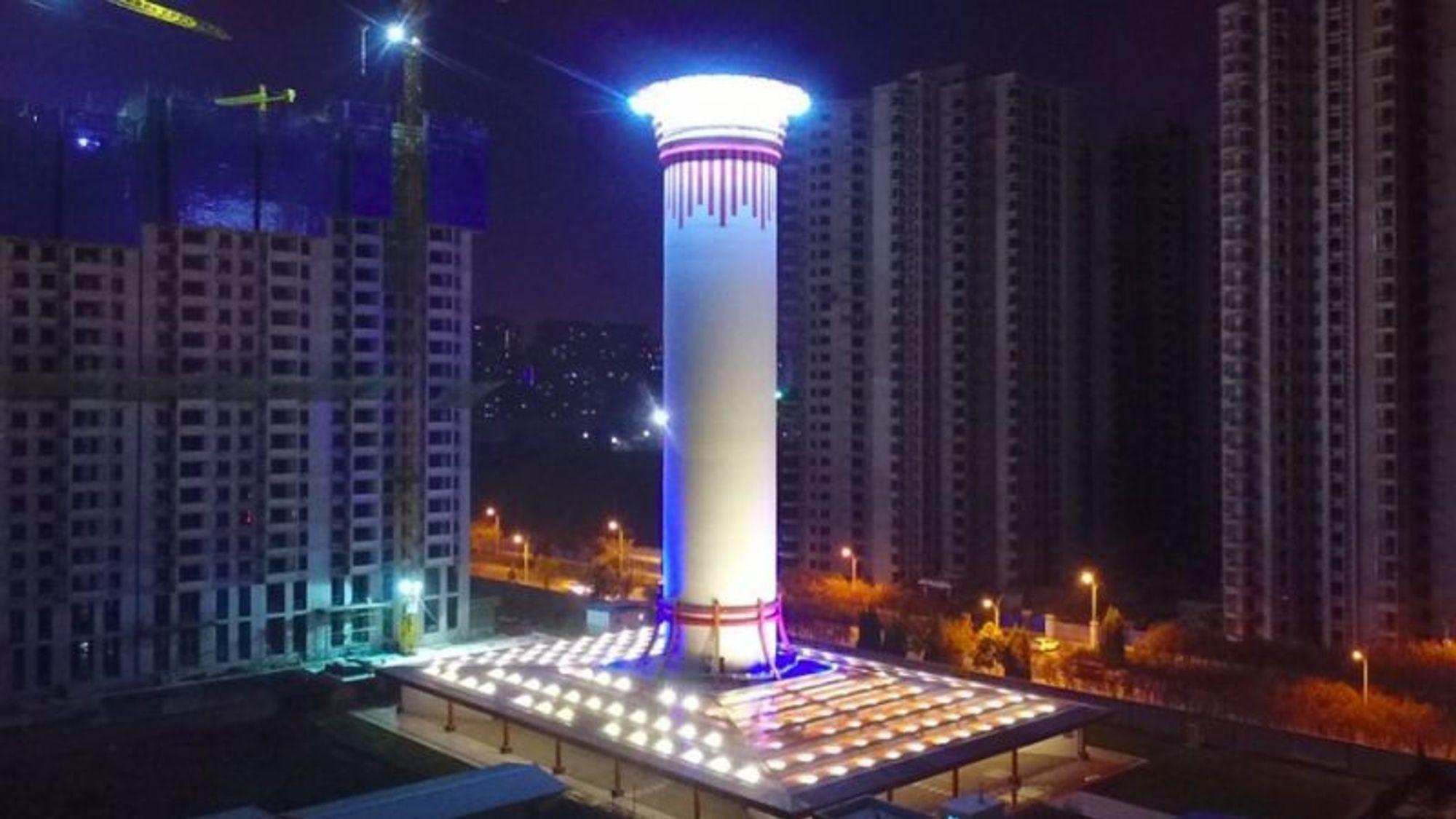 I den kinesiske byen Xian har Chinese Academy of Science bygget et 100 meter høyt tårn som filtrerer og renser luften. De første resultatene viser at den bidra til bedre luftkvalitet i et område på 10 kvadratkilometer.