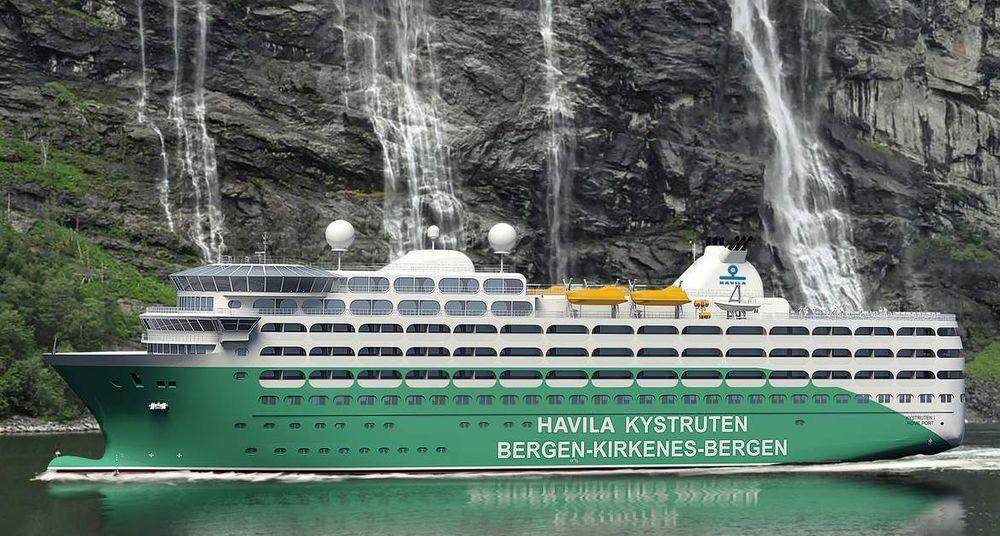 Havila Kystruten tar opp kampen med Hurtigruten ASA og satser på grønne skip med LNG og batterier.Skipene blir 125 meter lange, 20 meter brede og har plass til 700 personer.