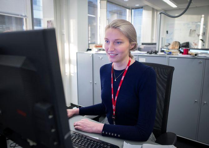 Gravejournalist Mona Grivi Norman i VG. Her fra sine kontorer i Akersgata i Oslo.