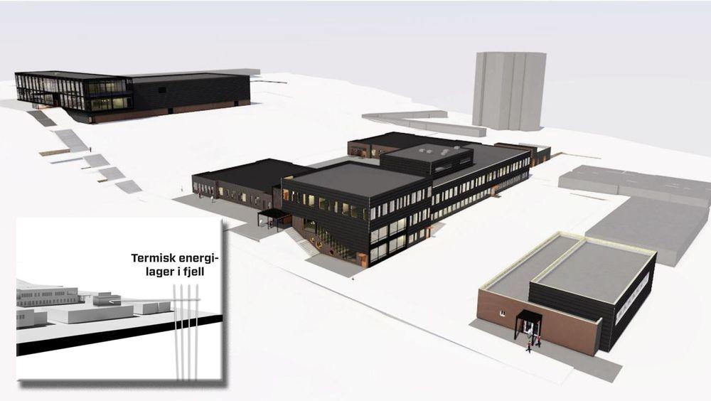 Fjell skole blir antagelig landets første skole med eget energilager i fjellet under skolebygget.