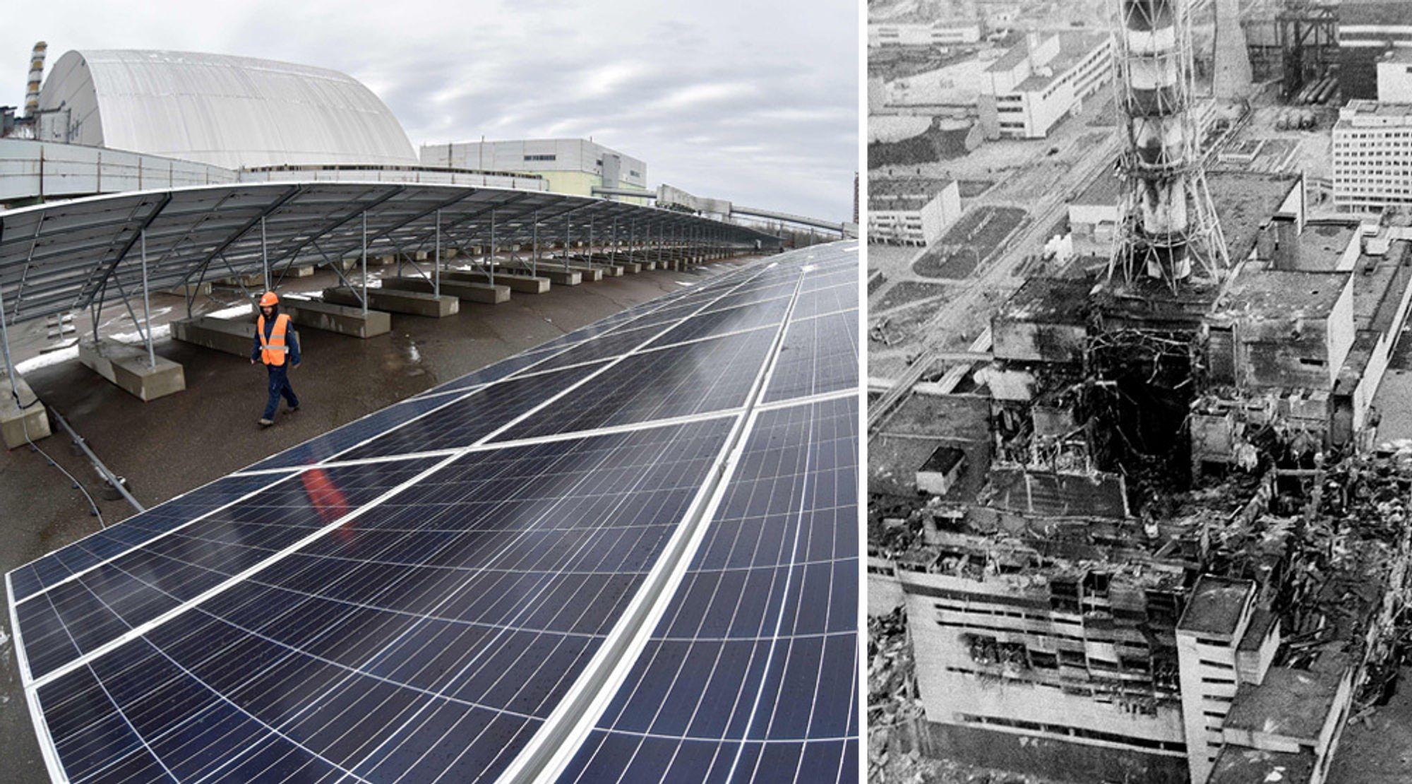 Det første etappen av solcelleparken i Tsjernobyl skal være klar til å kobles til strømnettet i løpet av et par uker. Bildet til høyre viser luftfoto av reaktor fire 2-3 dager etter verdens verste atomulykke i april 1986. Foran den høye pipen er den ødelagte reaktoren.