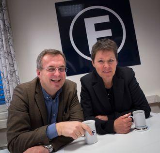 Administrerende direktør Per Brikt Olsen og nestleder Berit Nyman i Fagpressen. Her fra sine lokaler i Oslo sentrum.