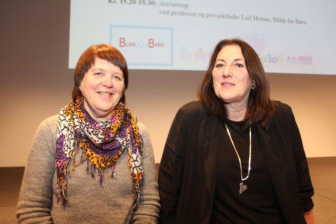 """Førstelektor Brit Eide (t.v) og førsteamanuensis Nina Winge er forskere i """"Blikk for barn"""". Her er de på barnehagekonferansen«Barnehager for de yngste – bra nok?» i 2016. Nå er prosjektet avsluttet de siste funnene offentliggjort."""