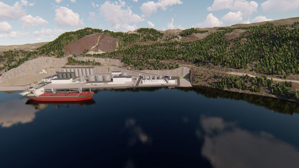 Mottak og renesanlegg: Slik vil det nye anlegget like ved gamle Raudsand gruver se ut. Det skal bygges en havn for store båter og et renseanlegg hvor metaller og salter skal gjenvinnes. Det som ikke kan gjenvinnes går inn i hallene til deponi,