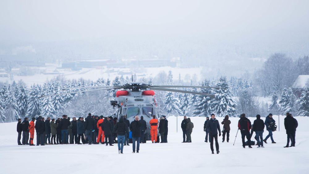 Det nye NH90-helikopteret ble tatt imot på Kjeller mandag formiddag.