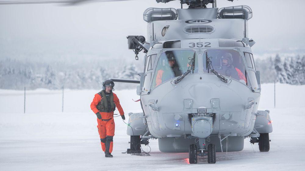 Det første NH90-fregatthelikopteret i endelig konfigurasjon etter ankomst til Kjeller 22. januar.