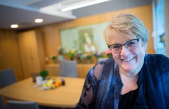 Kulturminister Trine Skei Grande (V) på sitt kontor i Kulturdepartementet i Grubbegata i Oslo.