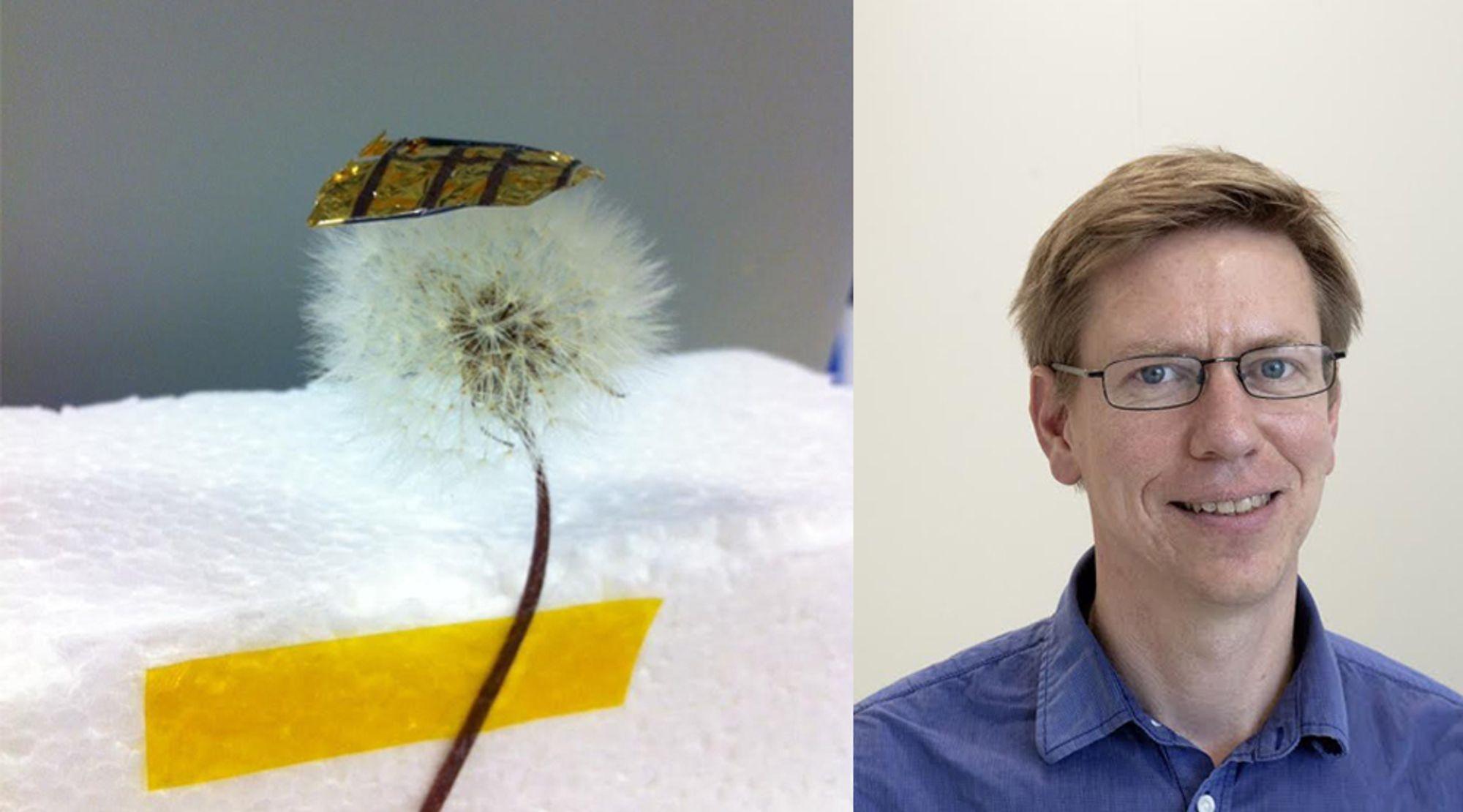 Forskere fra Uppsala universitet har laget en supertynn solcelle på en tynn plastfilm. Erik Johansson jobber med å forbedre solceller.