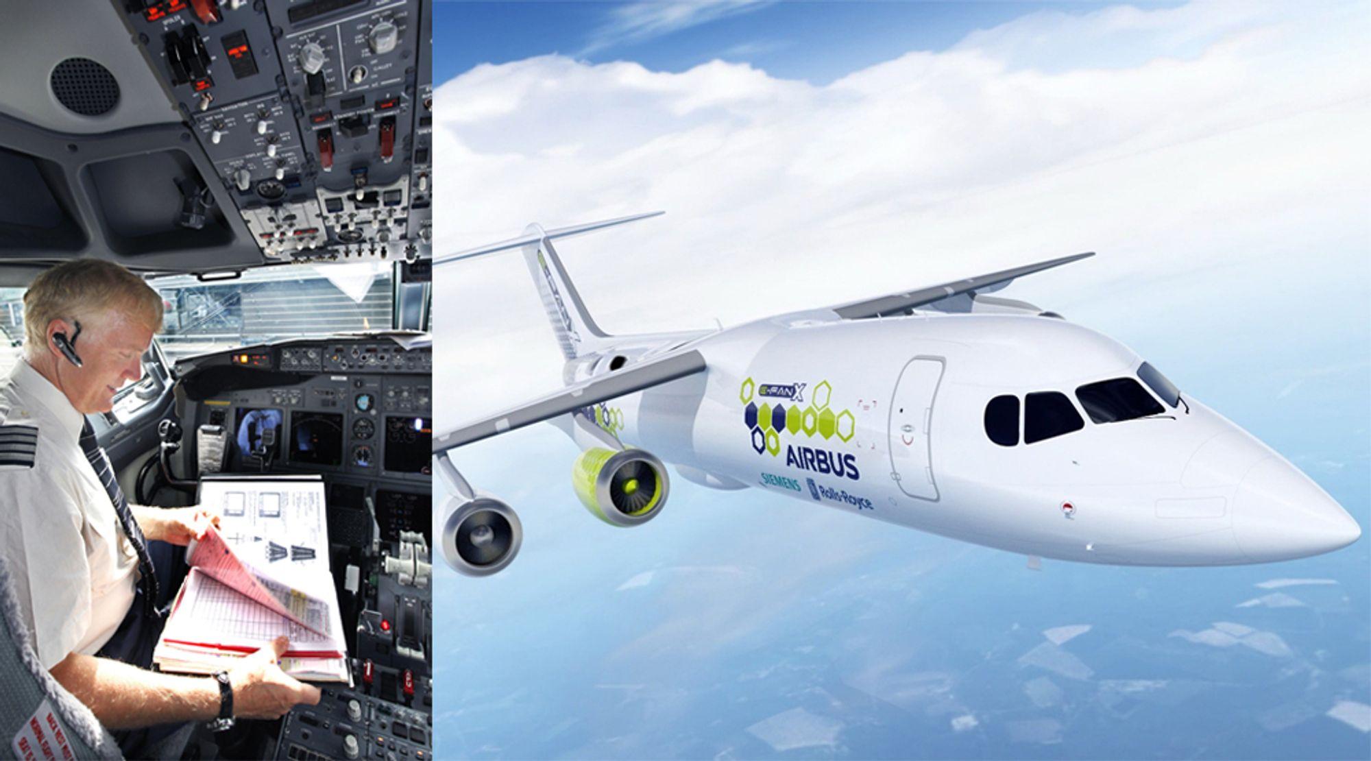 Mener luftfarten blir elektrisk: Kaptein Dag Falk-Pedersen i cockpiten til et fly på Gardermoen i 2009. Til høyre: Det elektriske flykonseptet E-Fan X som bygges i samarbeid mellom Airbus, Siemens og Rolls-Royce.