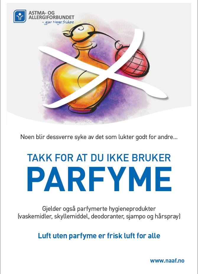 Norges Allergi og Astmaforbund har utviklet plakater som belyser parfymeproblematikken på en positiv måte.