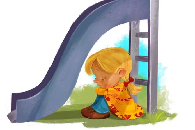 """Illustrasjon fra heftet """"Barn og brudd""""."""