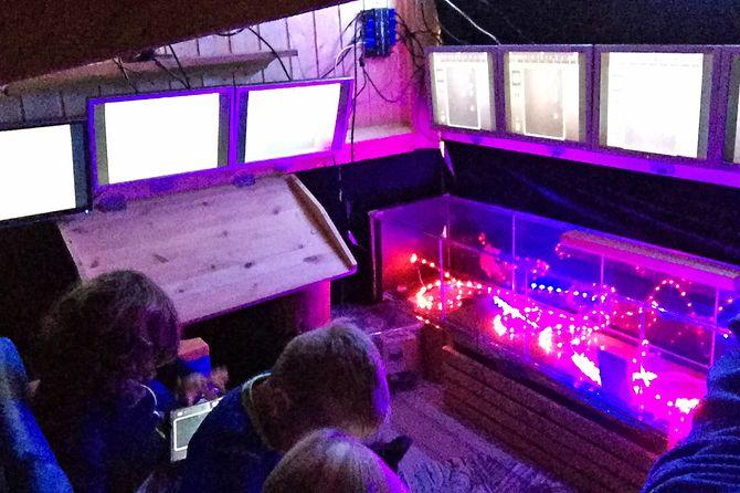 Datalaben med sju skjermer og spennende lys.