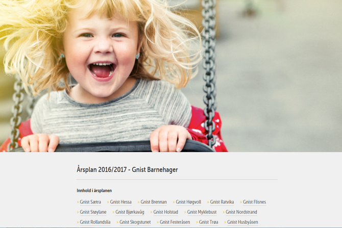 Slik ser startsiden til den digitale årsplanen til Gnist Barnehager ut.