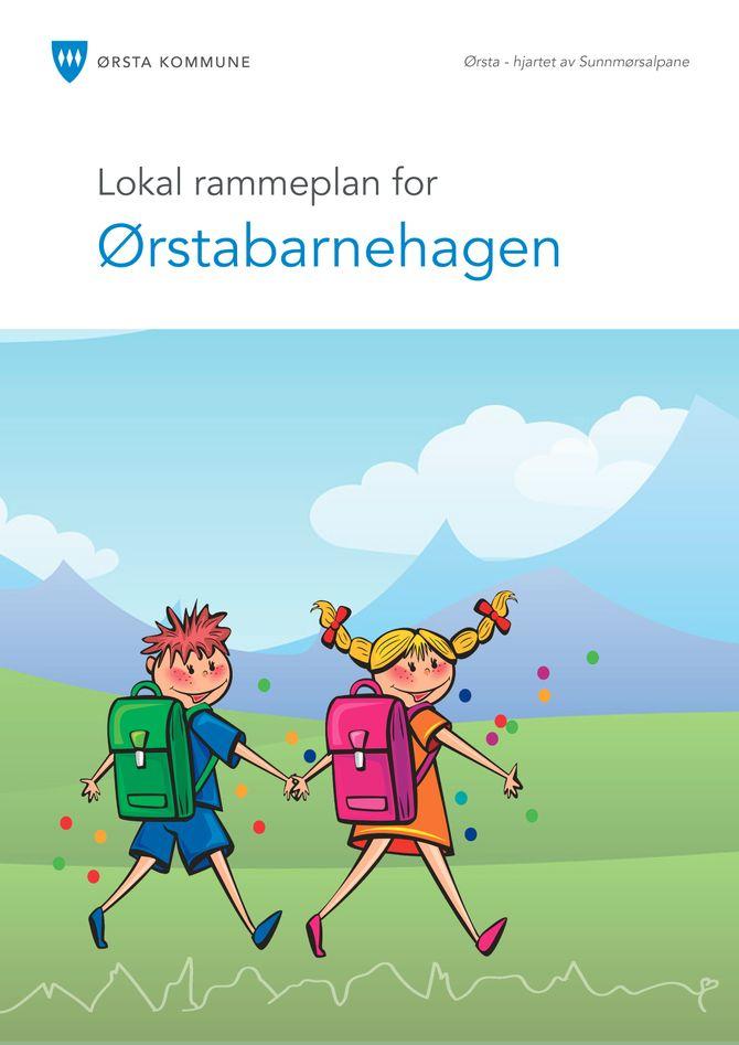Lokal rammeplan for Ørstabarnehagen prydet med Sunnmørsalpene.